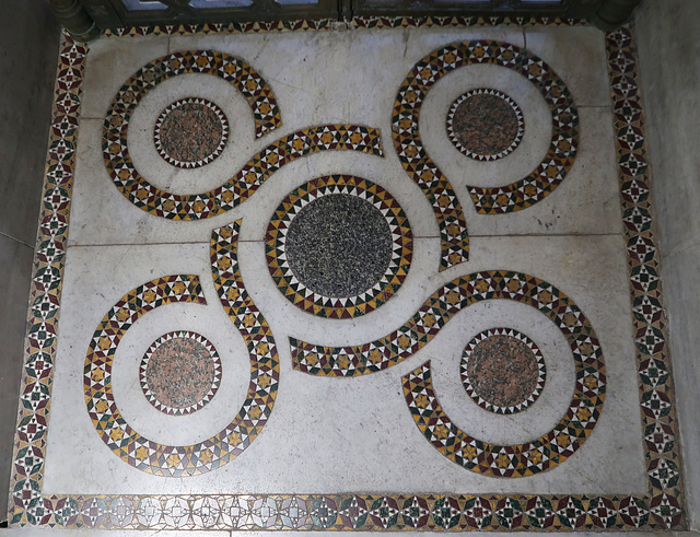 Inlaid mosaic floor panel