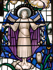 Detail of east window by Christopher Webb, Toddington Church, Bedfordshire