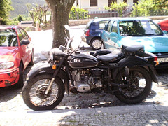 Ural with sidecar.