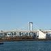 Japan, Panorama of Tokyo Bay with Rainbow Bridge