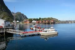 Norway, Lofoten Islands, The Shore of Reinefjorden in the Village of Hamnøy