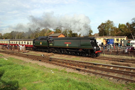 "SR 'West Country' Pacific no 34092 ""City of Wells"" departs Quorn and Woodhouse station"
