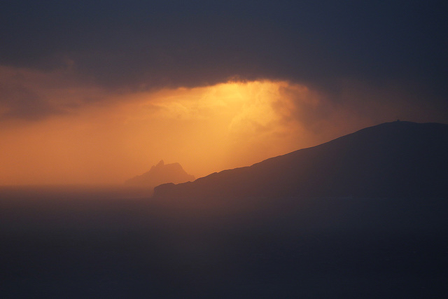 Watery sunset, Skellig Micheal & Bolus Head, Co Kerry, Ireland.