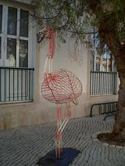 Flamingo sculpture.