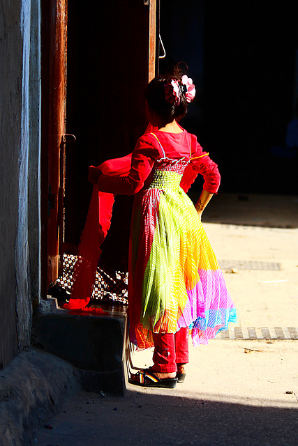 red dressed girl