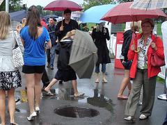 Umbrella showtime by the rain