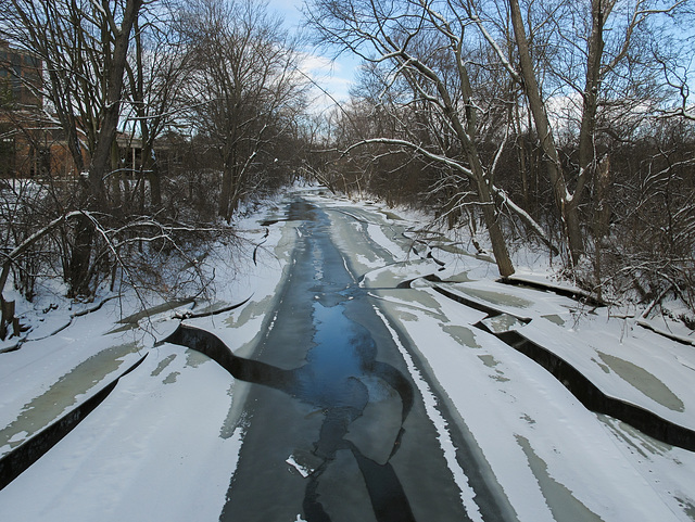 The ice and its cracks of the Red Cedar River.