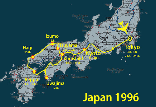 Japan Karte Reiseroute 1996 --- japan-1996-1
