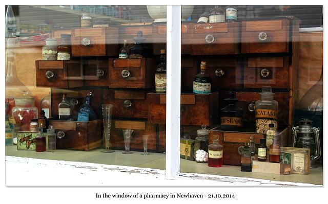 Pharmacy antique window display Newhaven 21 10 2014