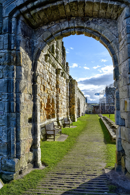 Saltire through the arch - Cathedral ruins, St. Andrews, Scotland