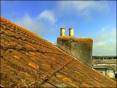Roof and chimney from my bedroom window, Saint Day. When I stay here I live with lichen!