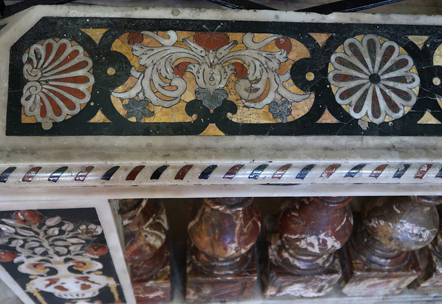 Inlaid marble and other stones