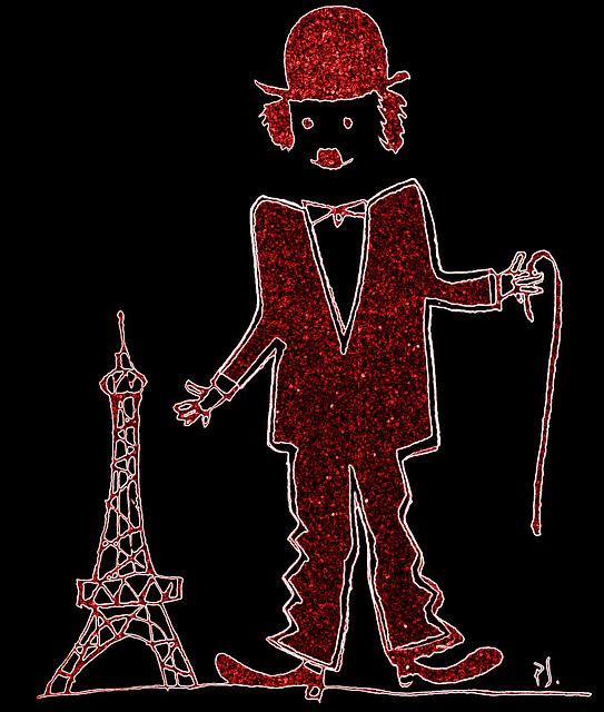 Chaplin kun Eiffelturo