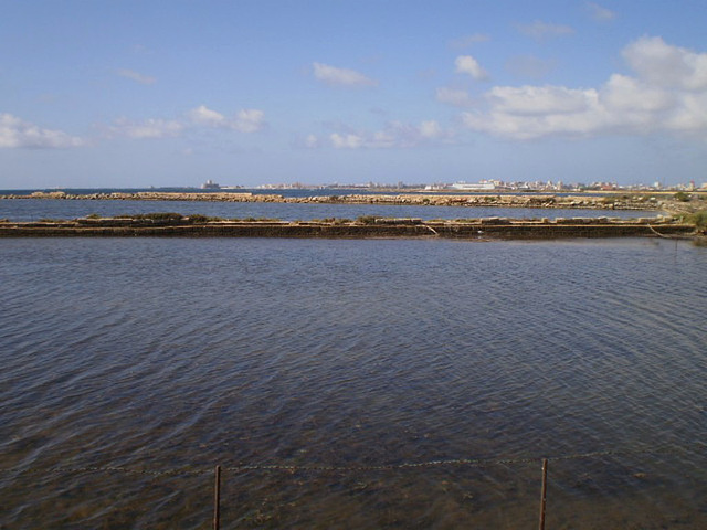 Salt pits, with Trapani on the background.