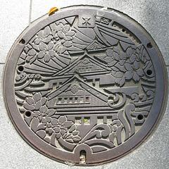 Plaque d'égout à Osaka (Kansai, Japon)