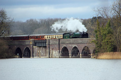 "BR Standard Class 9F no 92214 ""Leicester City""  Passes over Swithland viaduct"