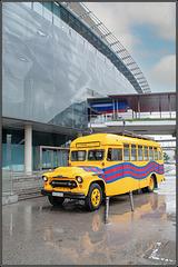 Alter Mannschaftsbus des FC Barcelona