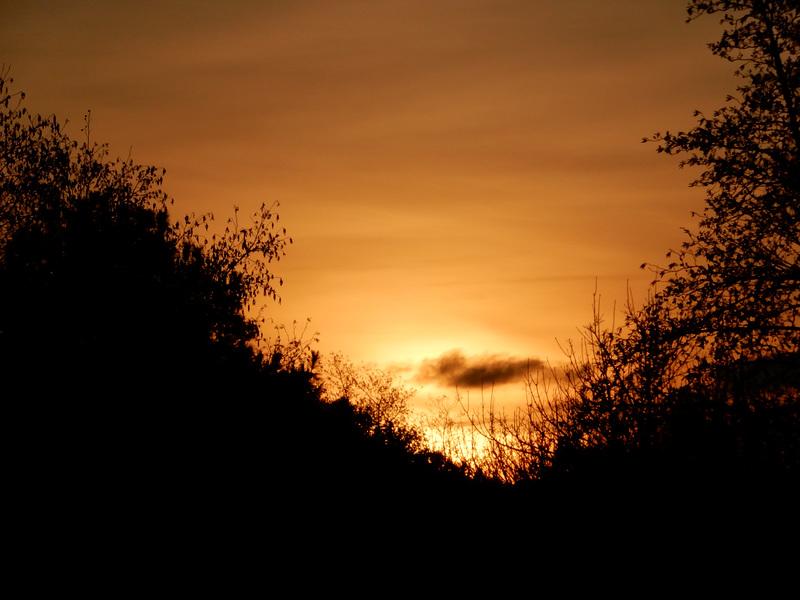 un coeur en hiver  ce soir, au coucher du soleil