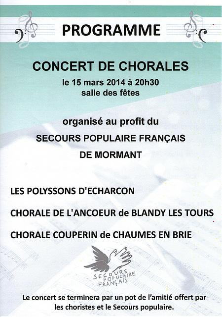 Concert à Mormant le 15 mars 2014