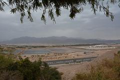 Israel, Eilat, Salt Flats and Jordanian Mountains