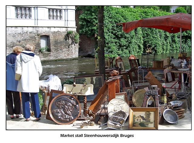 Market stall bric-a-brac Steenhouwersdijk Bruges