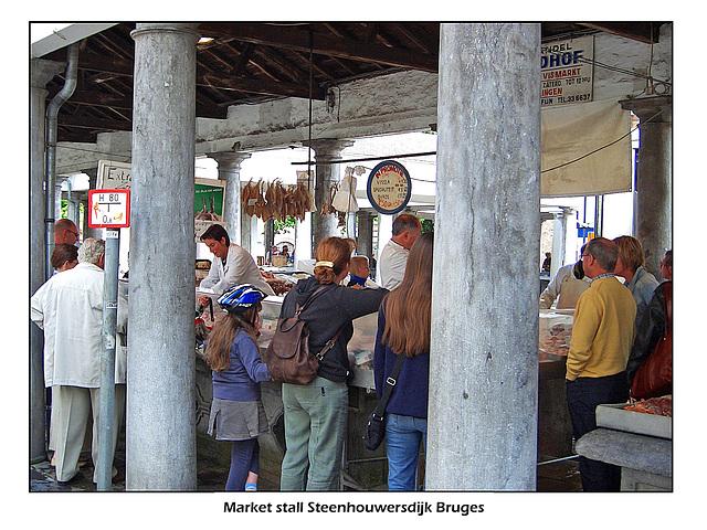 Market stall fish Steenhouwersdijk Bruges