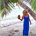 Seychelles : la signora in blu il cocco lo ha preso in mano, non in testa !