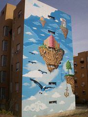 Hovering islands mural.