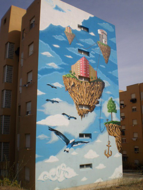 Hovering islands mural.