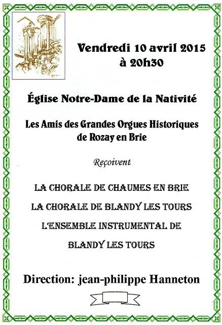Concert à Rozay-en-Brie le 10 avril 2015