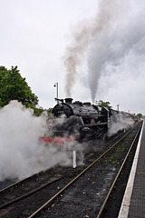 """LMS Stanier Class 5 4-6-0 no 44767 """" George Stephenson """" lets off steam at Sheringham ~ Norfolk"""