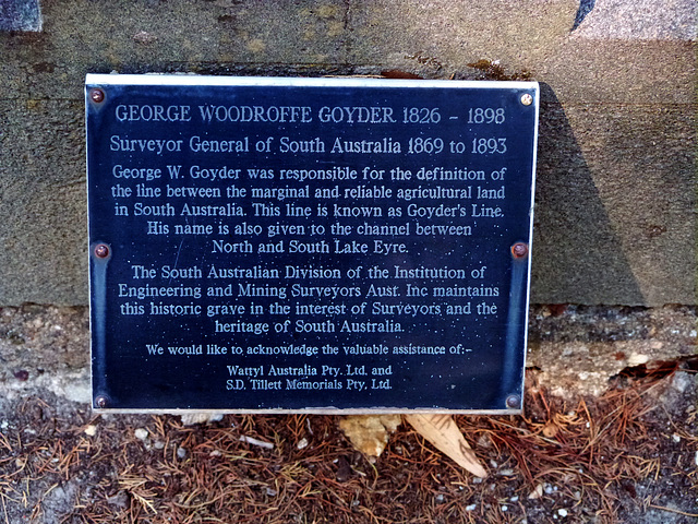 George Woodroofe Goyder: at the base of a memorial erected in Stirling cemetery