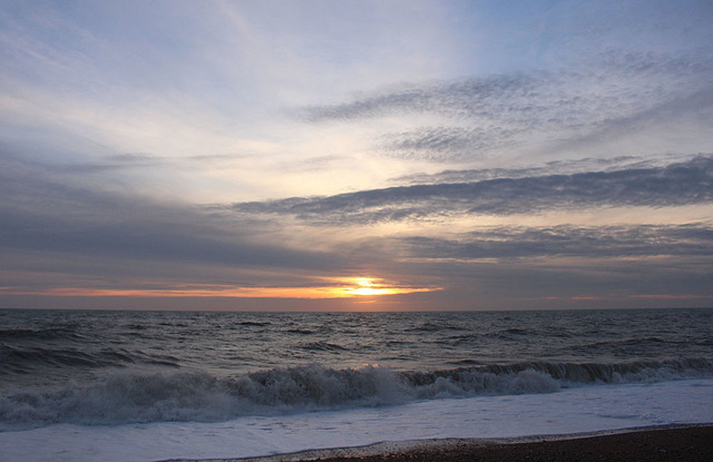 A cold wind making a choppy sea - Sunset - Seaford Bay - 21.1.2016