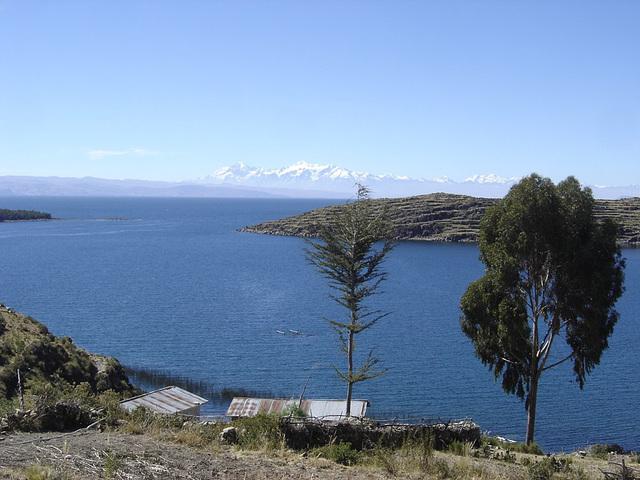Une vue du lac Titicaca en Bolivie avec en fond la Cordillère des Andes