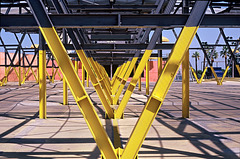 black and yellow structures