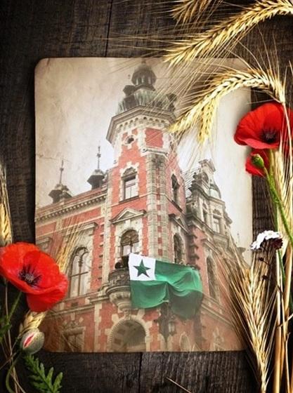 Esperanto-flago sur la Ottendorfer-Domo, sidejo de la Esperanto-Muzeo
