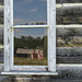 Reflections in a log cabin window