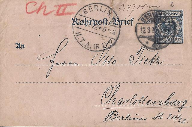 Chute Letter / Rohrpostbrief von 1892