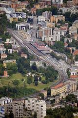Sicht auf den Bahnhof von Lugano