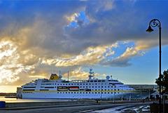 Luxury cruiser Hamburg docks on in Havana port