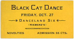 Black Cat Dance Ticket, Lancaster, Pa., October 27, 1922