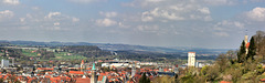 Blick Richtung Norden über die Dächer von Ravensburg und ins Schussental