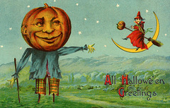 All Halloween Greetings—Jack-o'-Lantern Scarecrow and Witch with Crescent Moon