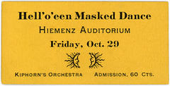 Hell'o'een Masked Dance Ticket, Lancaster, Pa., October 29, 1920
