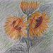 """Sunfloroj """"Girasoles"""". Globetskribilo """"Pluma esferográfica"""" sur papero de 32 x 24.5 cm... 130 g/m²."""