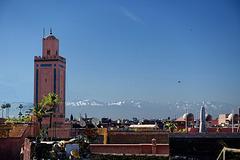 Mosquée Ben Youssef, Marrakech. Haut Atlas en arrière plan.
