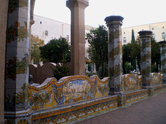 Tiles on benches and columns.