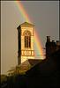 church struck by rainbow