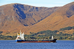 "Cargo ship ""TransFalcon"" sails Loch Linnhe to Fort William"