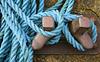 Blue mooring rope